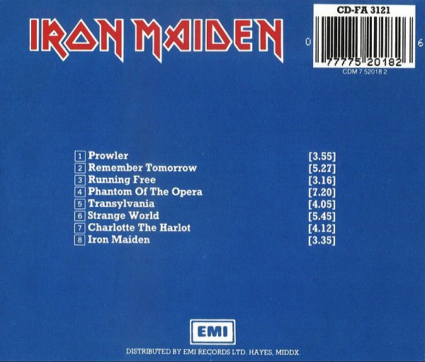 Iron Maiden album – Back Cover