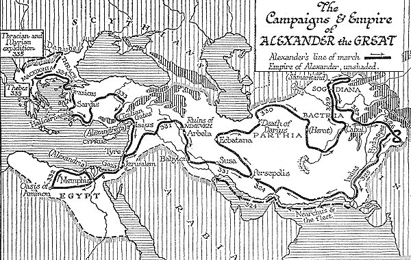 Map of Alexander's conquests