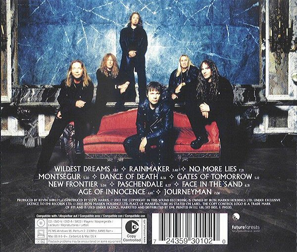 Dance Of Death album – Back cover'