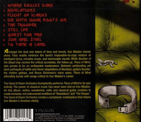 The Orchestral Tribute To Iron Maiden – Back cover